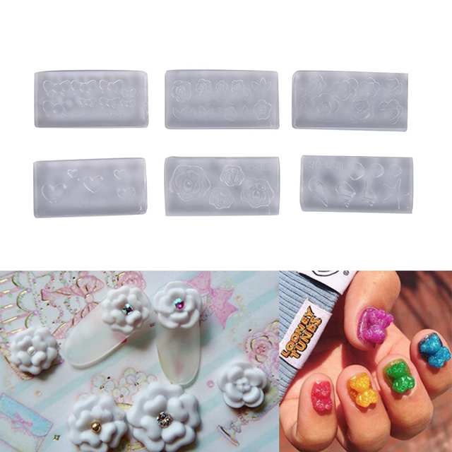 6pcs Set Acrylic Mold Design Silicone Nail Art Templates Pattern Manicure Beauty Nails
