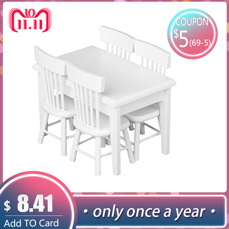 5X//Set 1:12 Miniature Furniture Dining Table and Chairs for Doll House Kids/'Gift