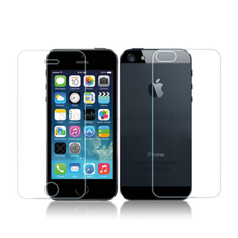 Front And Back Clear Tempered Glass Screen Protector For iPhone 5 5S SE Film 3