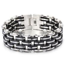 Fashion Men's Jewelry High Polished Stainless Steel Bracelets & Bangles Men Biker Motorcycle Chain With Silicone Bracelet high polished 6 number spring chain bracelet