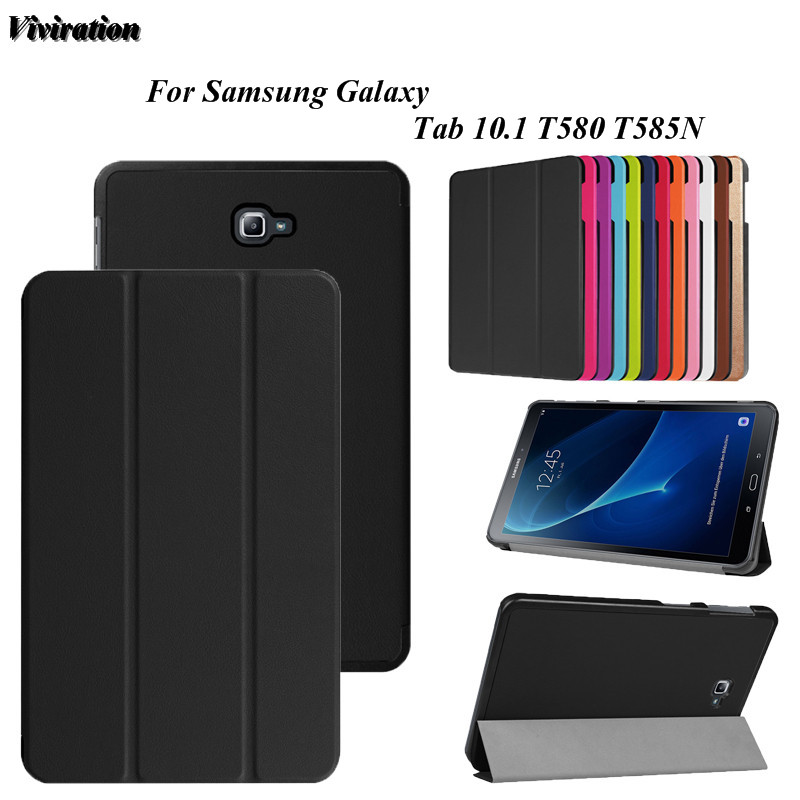 Viviration Black Tablet PC Case Cover Magnetic Smart Stand Case For Samsung Galaxy Tab 10.1 SM-T580 T585N High Quality Cover steelie magnetic tablet socket