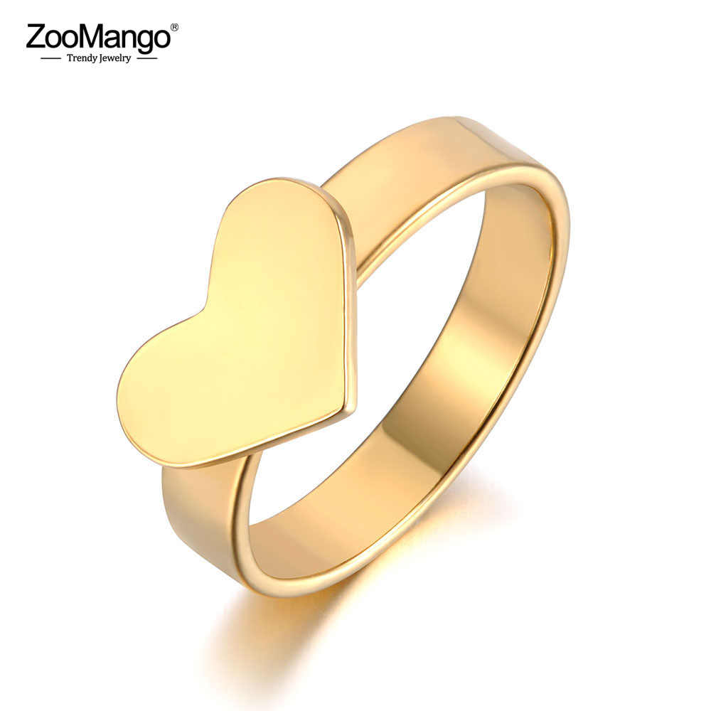 ZooMango Romantic Stainless Steel Couple Rings For Women Men Love Heart Anniversary Wedding Ring Jewelry Anneau Halka ZR19033