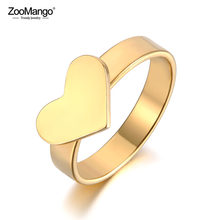 ZooMango Romantic Stainless Steel Couple Rings For Women Men Love Heart Anniversary Wedding Ring Jewelry Anneau Halka ZR19033(China)