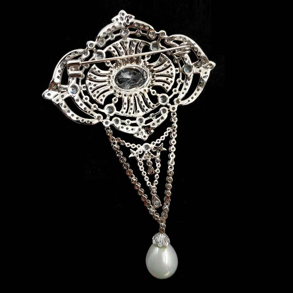 Gipsy Music Gaya Vintage Micro Pave Bening CZ Tiga Loop Gaya Art Deco Oval Drop Bros Menjuntai Pin Edwardian Perhiasan untuk Wanita fashion