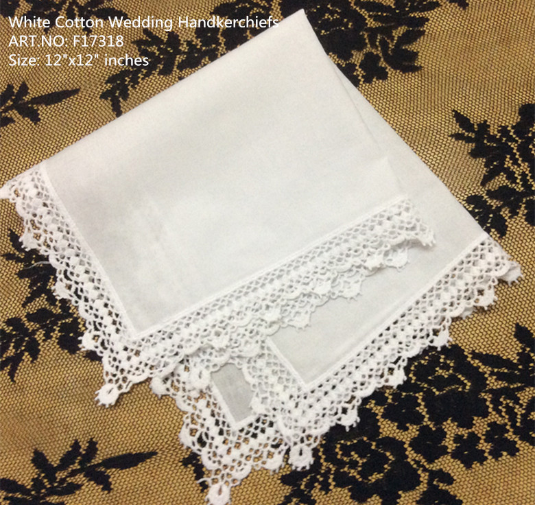Set Of 12 Fashion Ladies Handkerchiefs 12-inch White Cotton Wedding Bridal Handkerchief Sweet Heart Hankies Vintage Lace Hanky
