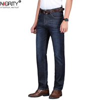 NIGRITY 2019 Spring Summer New Men's Straight casual jeans Fashion denim trousers male pant 2 Colors Optional big size 29 42