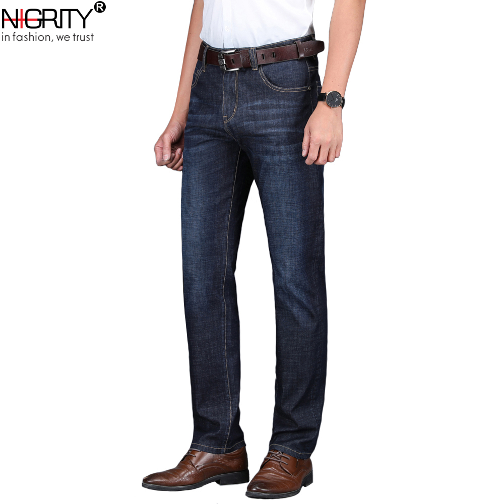 NIGRITY 2020 Spring Summer New Men's Straight Casual Jeans Fashion Denim Trousers Male Pant 2 Colors Optional Big Size 29-42