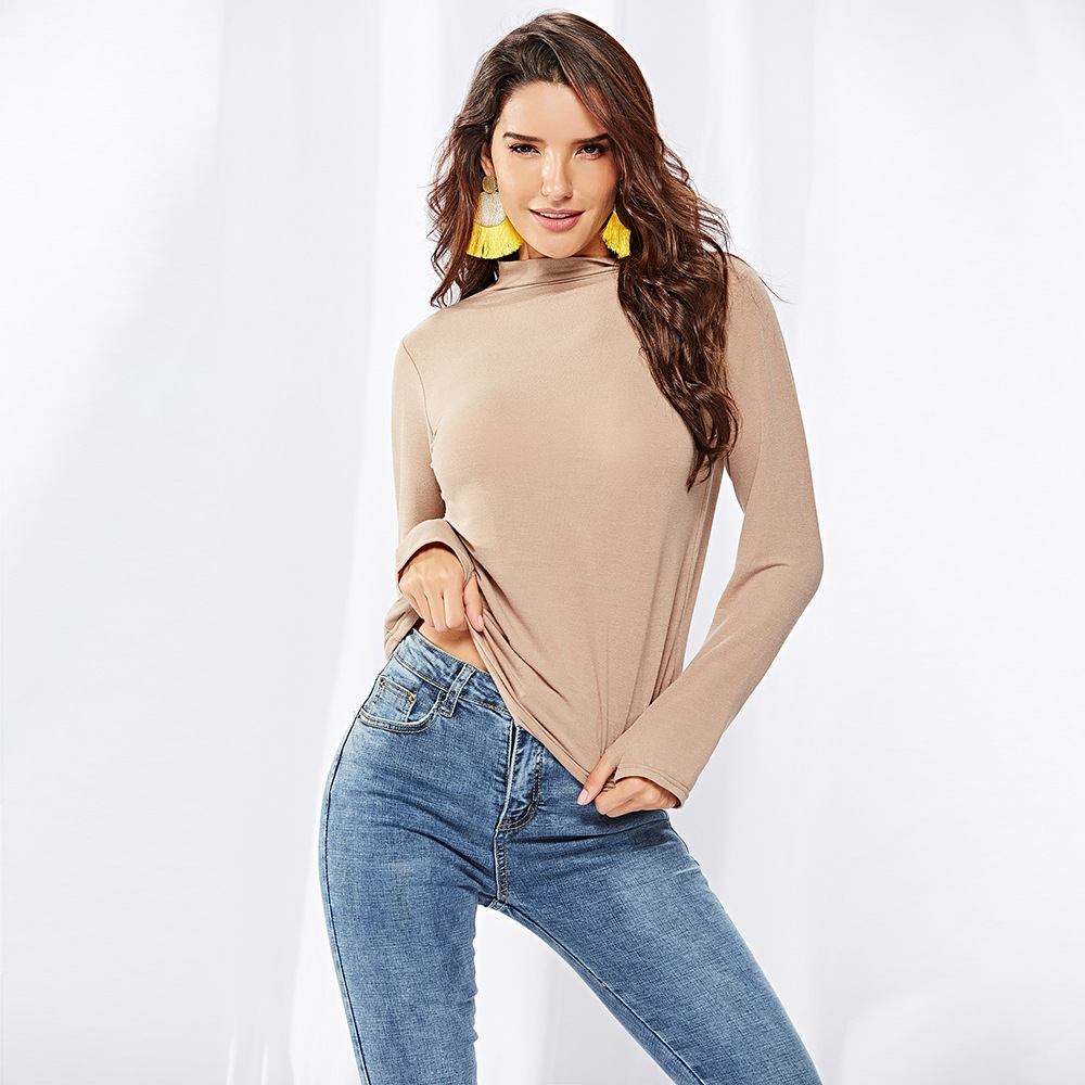 2019 Latest Bottom Shirt long sleeve female autumn winter new high collar slimming inside a solid color knitted top in Pullovers from Women 39 s Clothing