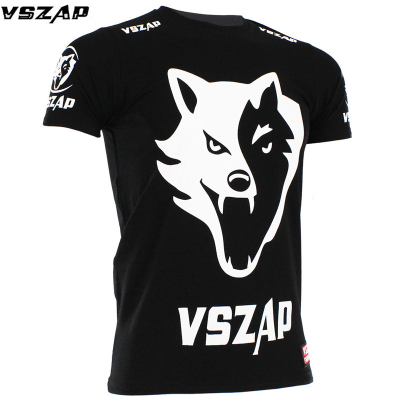VSZAP MMA Muay Thai T Shirt VSZAP FIGHT BRAZIL MMA Jerseys Boxing Team T Shirts Running Gym Black Wolf Tees