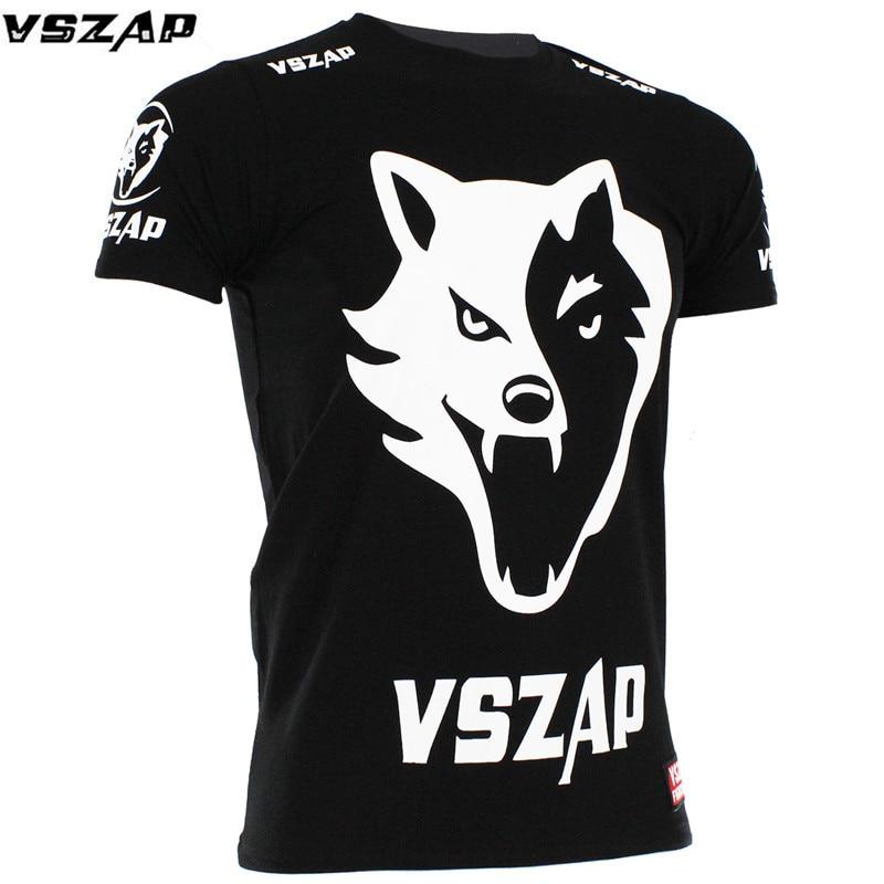 VSZAP MMA Muay Thai T Shirt VSZAP FIGHT BRAZIL MMA Jerseys Boxing Team T Shirts Running Gym Black Wolf Tees