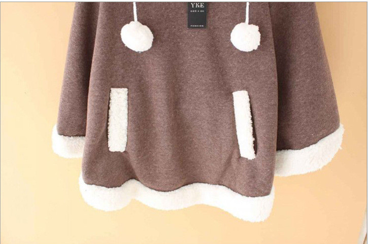 Autumn Japanese Batwing Sleeve Pullovers Hoodies Soft Fleece Girls Ball Doll Cloak Sweet Winter Warm Cape Cute Women Pullover