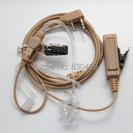 2 Pin Beige Flesh Color Covert Acoustic Tube Earpiece Headset Mic For Wouxun Radio Security Door