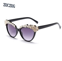 Luxury Fashion Rhinestone Cat Eye Sunglasses Women Designer Transparent Frame Ladies Reflective Sunglasses Gafas De Sol