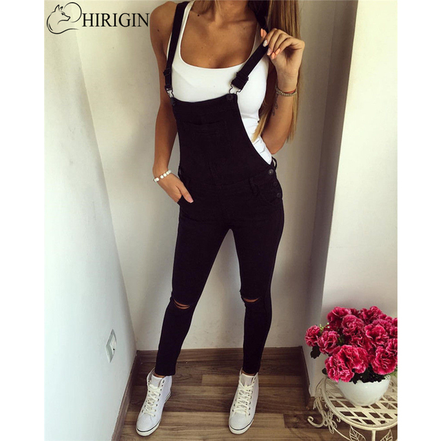 8effe9f7202 New Spring Autumn Casual Jumpsuit Women Baggy Denim Jeans Jumpsuits Bib  Full Length Pinafore Dungaree Overall Pants Trousers