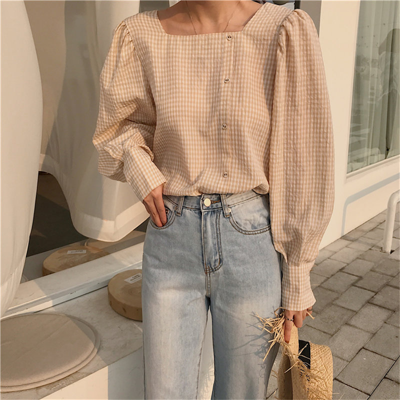 HziriP Retro Fashion Stylish Plaid 2019 Summer Square Collar Fresh Vintage Sweet Loose Plus Size Women Elegant Casual Shirts