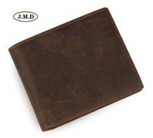 J.M.D Genuine Leather Mens fashion Purse Card Holder New Style Wallet Brown Color Causal Slots Photo 8077R