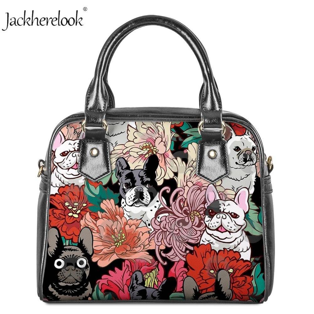 Jackherelook sac à main des femmes Bouledogue Schnauzers Floral Chien Motif petit sac à bandoulière De Mode Animal Chat Bandoulière bourse de postier