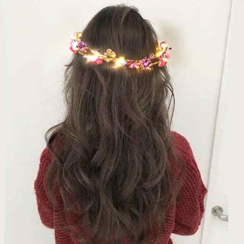 Светящийся венок для свадьбы праздника корона цветок головная повязка светодиодный свет Рождество неоновое украшение венки светящиеся гирлянды для волос лента для волос