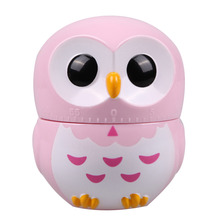 Owl Kitchen Timer 60 Minutes Cooking Mechanical Pink Cartoon Cooking Tools Plastic 8.5*6.5cm