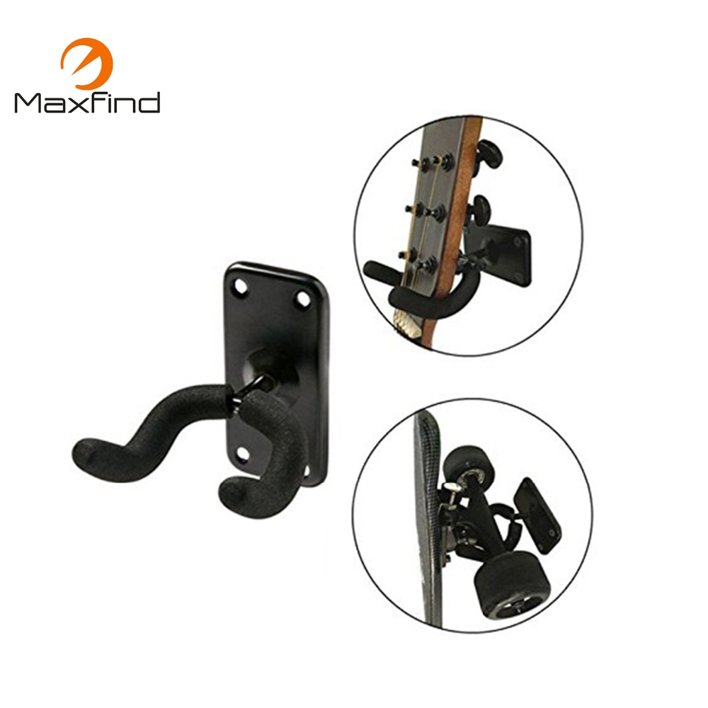 Maxfind High Quality Guitar Hanger Holder Black Wall Mount Stand Rack Bracket Screws Fits Most Guitar Bass black guitar wall mounted hanger with auto lock guitar rack hook wall holder stands racks for guitar bass ukelele