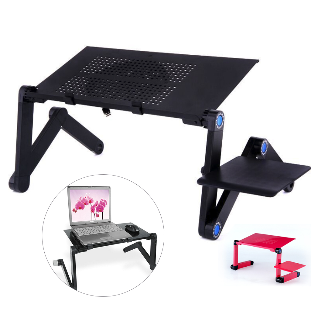 Laptop Stand Desk Folding Adjustable Desk Portable Laptop Holder Bed Table Stand Lap Sofa Lapdesk Tray With Fan Mouse Pad