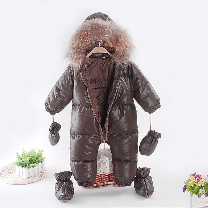 baby girl overalls russia winter clothes winter coat wearing a duck made of goose feather snow