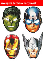 8pcs Super Hero Theme Party Mask Cartoon Paper Mask Birthday My Little Avengers Poni Anna And