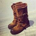 Nuevos Cargadores de Martin Mitad de la Pantorrilla de La Vendimia Mujeres Del Cuero Genuino Botas Planas Zapatos de Las Mujeres Botines Otoño Invierno Botines Zapatos Mujer