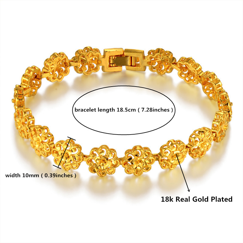 Classic Ethnic Prom Flower Gold Bracelet Female,Gold Color Hot ...