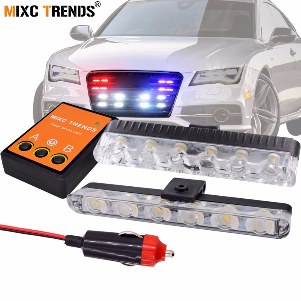 2Pcs 6 LED Front Grill Strobe lights Bar White Yellow Red Blue Car Police Flash Light Emergency Warning Flashing Fog Lights 12V luces led de policía