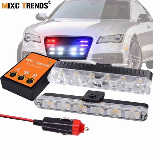 2pcs 6 Led Front Grill Strobe Lights Bar White Yellow Red Blue Car Police Flash Light Emergency Warning Flashing Fog 12v