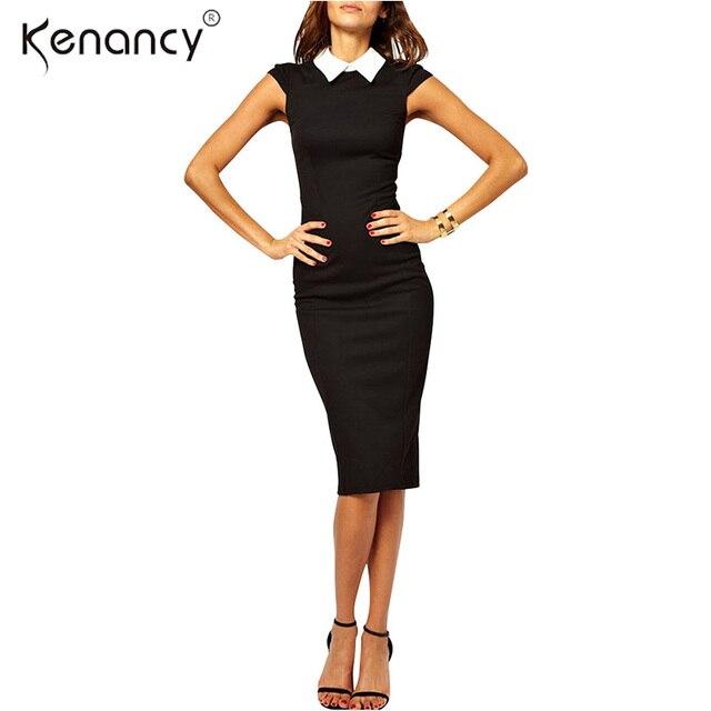 956d556414 Kenancy Fashion New Turn-Down Collar Cap Sleeve Pencil Dress Women Kneel  -Length Bodycon
