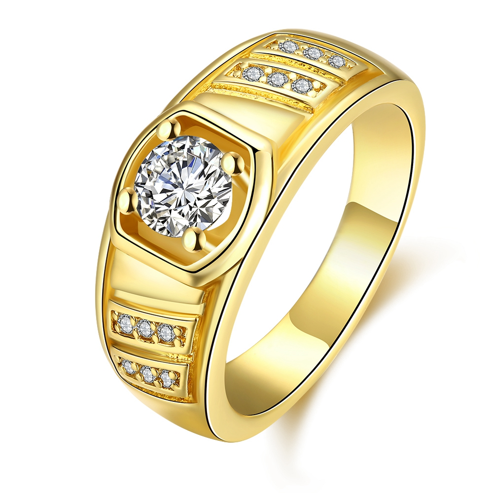 Fashion Jewelry Mens High Polished Signet Solid Stainless Steel Ring AAA+ Cubic Zircon Biker Ring For Men Gold Colour Jewelry