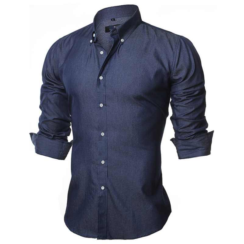 VISADA JAUNA 男性のシャツヨーロッパサイズ S-XXL 2018 夏カジュアルカミチアドレスはウォモスリムフィット長袖綿男性デニムシャツ N1091