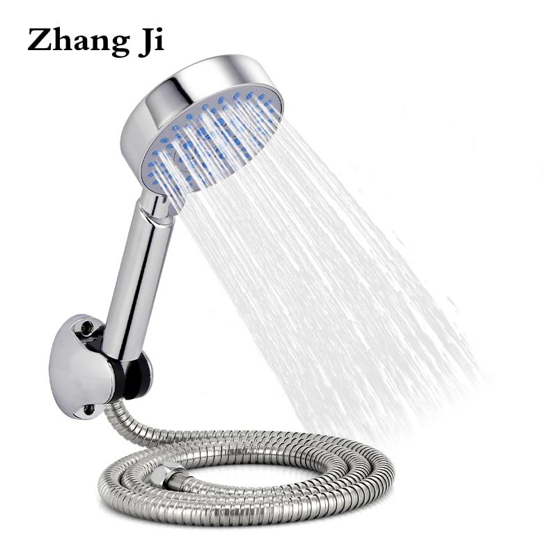 ZhangJi Hot Sale Shower Head Set Bathroom Chromeplate Handheld Showerhead With Hose And Holder Multiple Modes Showerhead Sets