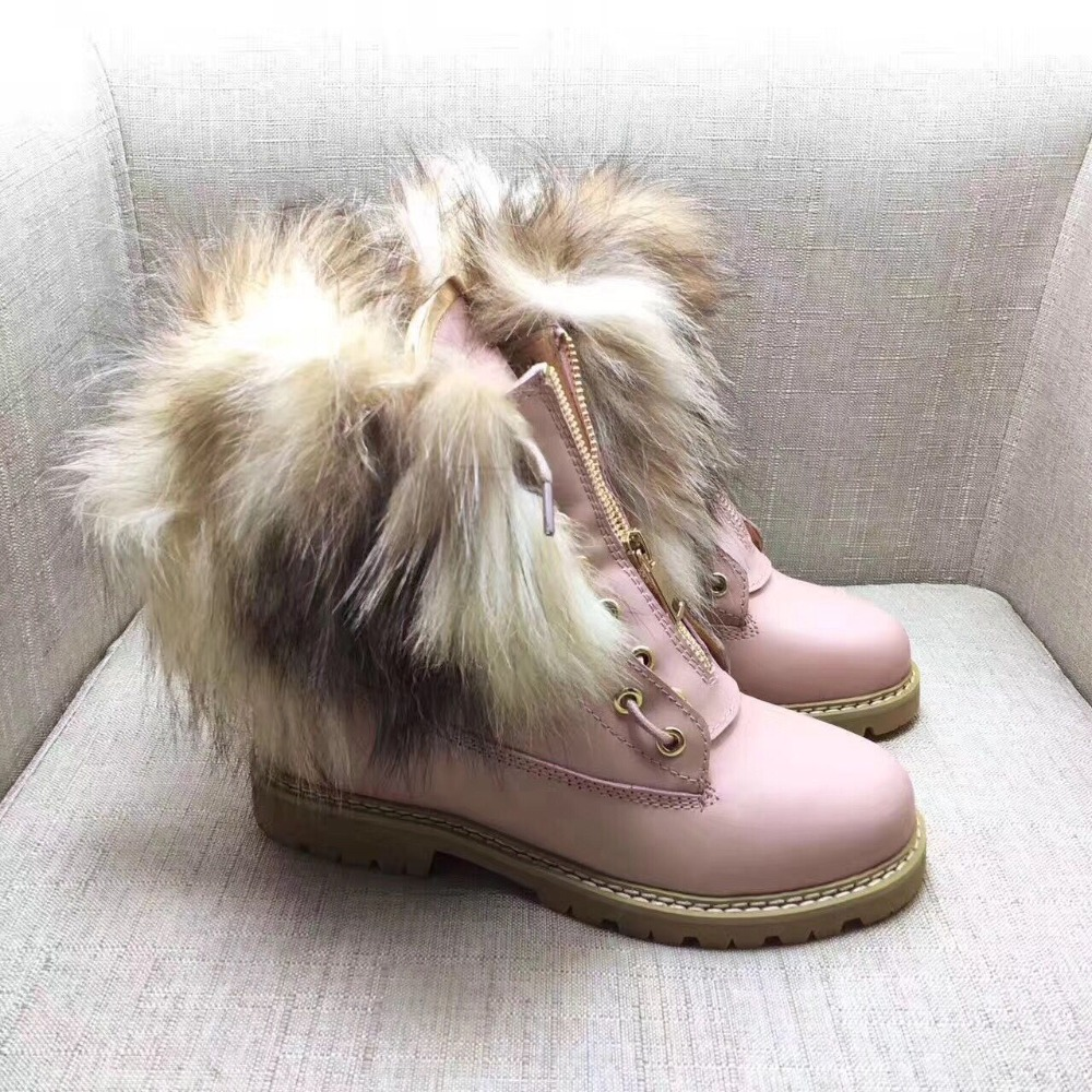 Ladies fur combat boots for women New Ankle Boots Black Booties Shoes Woman Motorcycle Boots Punk girls shoes Women Martin Boot