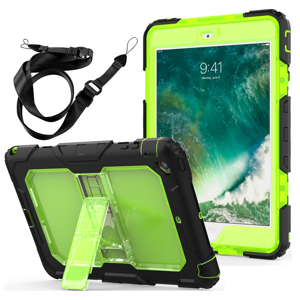 Case For iPad Mini 3/2/1 Kids Safe Three Layers Heavy Duty Soft Silicone Hard Bumper Kickstand Shockproof Case Shoulder Strap