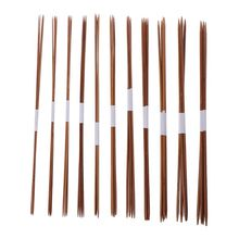 44Pcs In 11Sizes 14.2in Smooth Carbonized Bamboo Double Pointed Straight Knitting Needles Set Knitwear DIY Tools