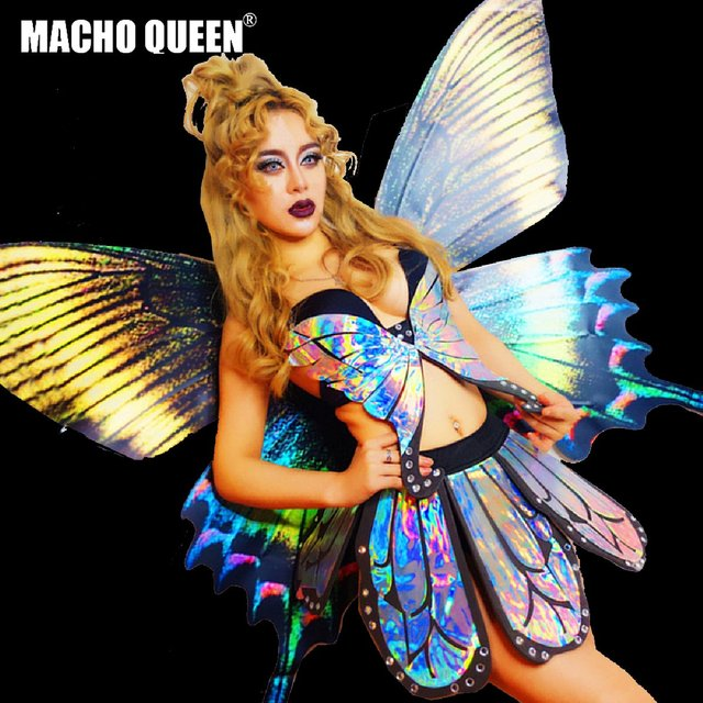4ac82db4d1 Holographic Butterfly Fairy Wigs Carnival Costumes Outfits Burning Man Rave  Festival Iridescent Drag Queen Dancer Stage Costume