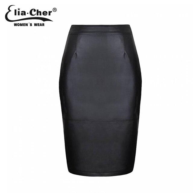 Women clothing Pencil Skirts Summer black MIDI Not Leather  PU chic elegant fashion sexy plus size causal skirt 6557