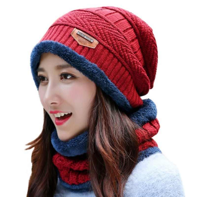 25884f3c5ad 2017 Knitted Winter Beanie Hat Scarf Thicken Velvet Crochet For Men Autumn Winter  Caps Skullies Hood