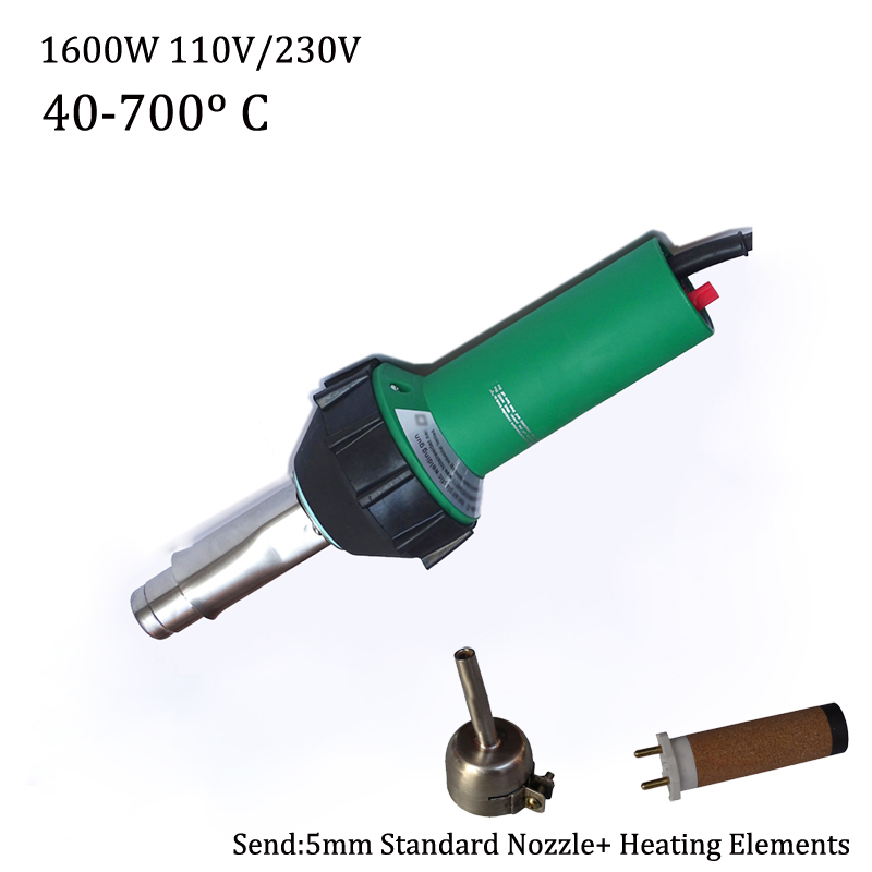 цены New 110V/230V 1600W Hot Air Welding Gun/Torch for PP/PE/PVC/Viny Plastic Welder Pistol with 5mm nozzle and Heating Element