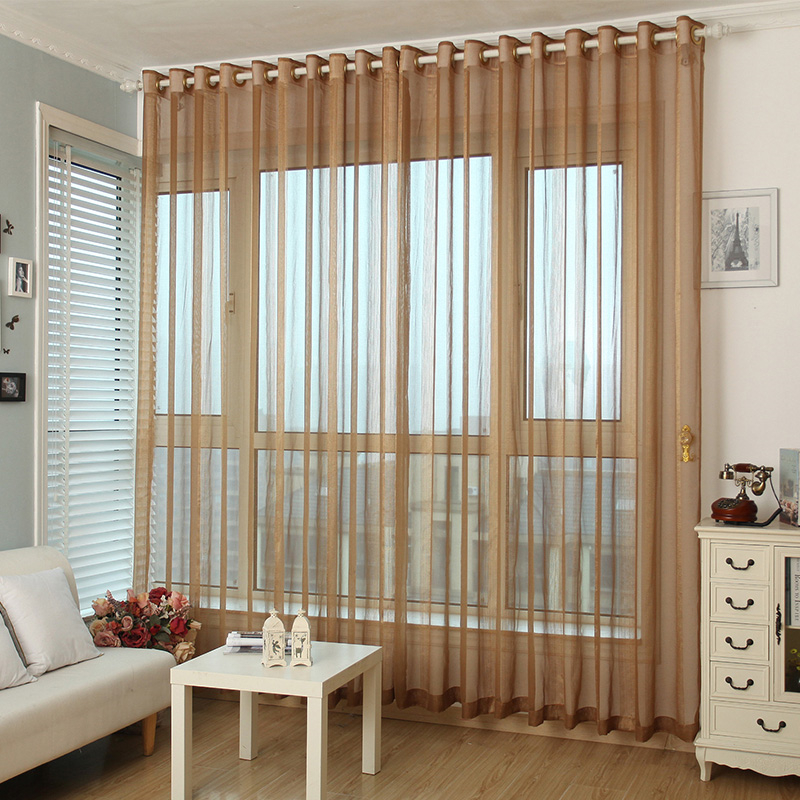 Coffee Tulle Curtains Simple Modern Sheer Curtains For