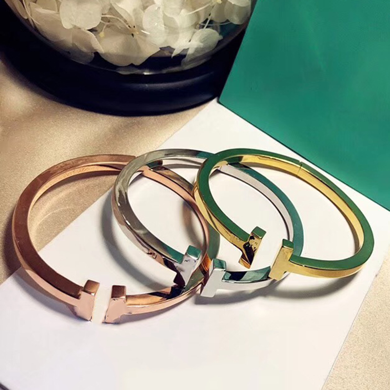 Brand stainess steel Fashion Party Jewelry For Women Men Unisex Big Letter T Bangle Cuff Jewelry Spring Bangle T Bracelet