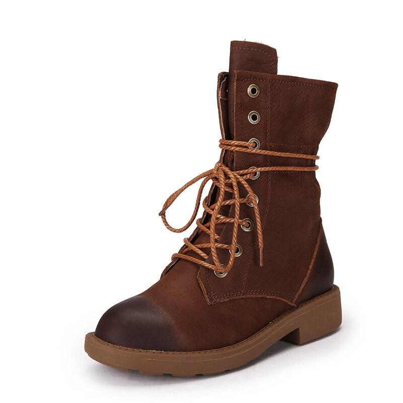 brown Femmes Lacets Noir Bottes D'hiver Pour En Chaudes À Bout Vallu Cuir Véritable Chaussures 2017 Main Rond La ardoisé Onw80Pk