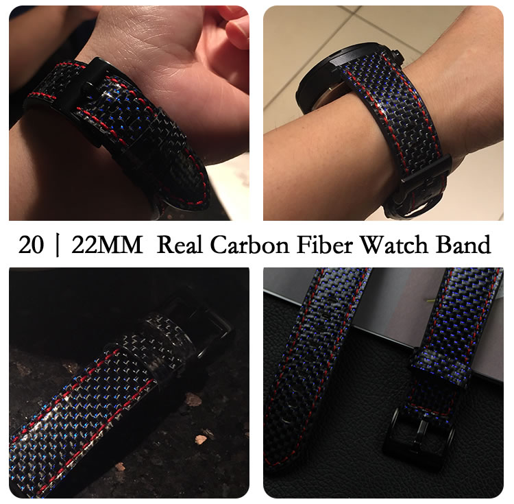 Newest Real Carbon Fiber Watch Band For Huawei Watch 2 Pro Straps For Samsung Gear S3