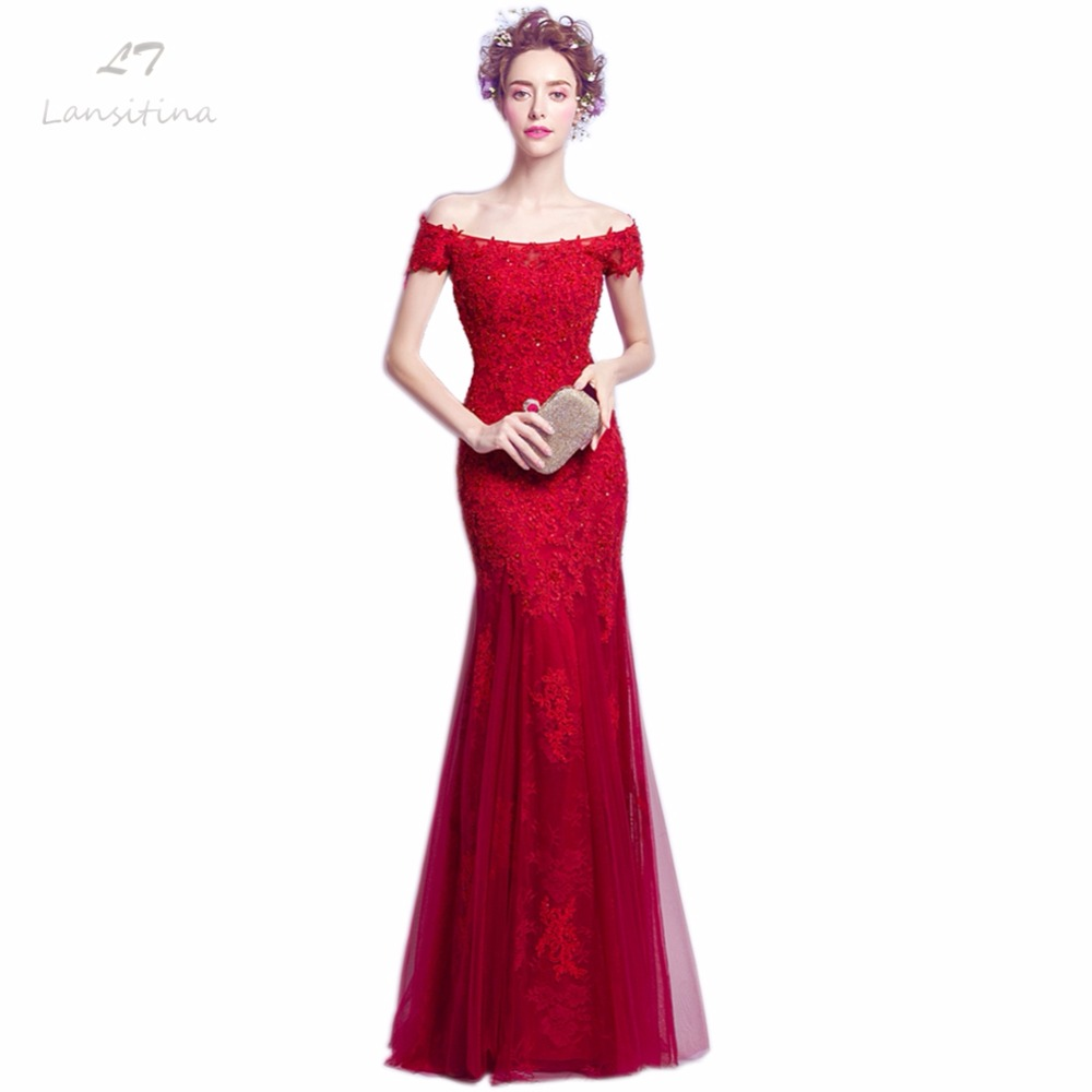 Dark Red Lace Evening Gown Promotion-Shop for Promotional Dark Red ...