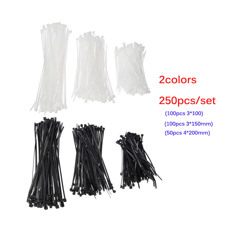 250pcs Nylon Cable Ties Set Inculdes 3sizes 3x100 3x150 4x200 Black Color National Standard Self-locking Plastic Wire Zip Tie