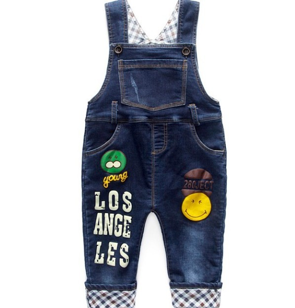 1-2.5Y new 2016 autumn smile face girls boys denim overall baby girl jeans pant boys overalls children denim jeans kids pant