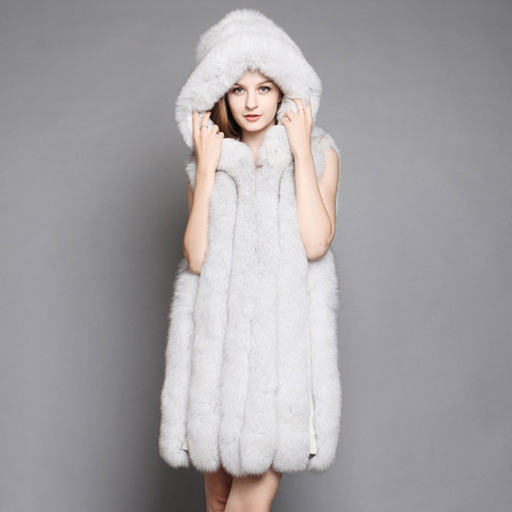 Fur Story 152126 New Arrival Winter Natural Fox Fur Vest Hoodie Blue Fox Waistcoat for Women
